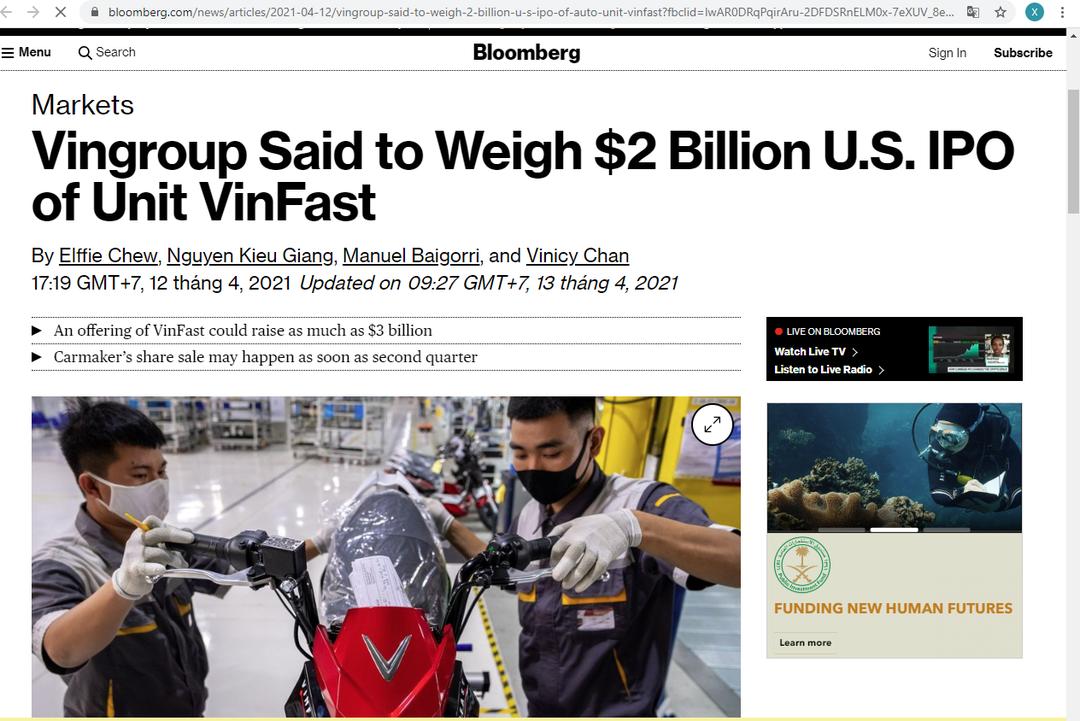 Vinfast IPo ở Mỹ